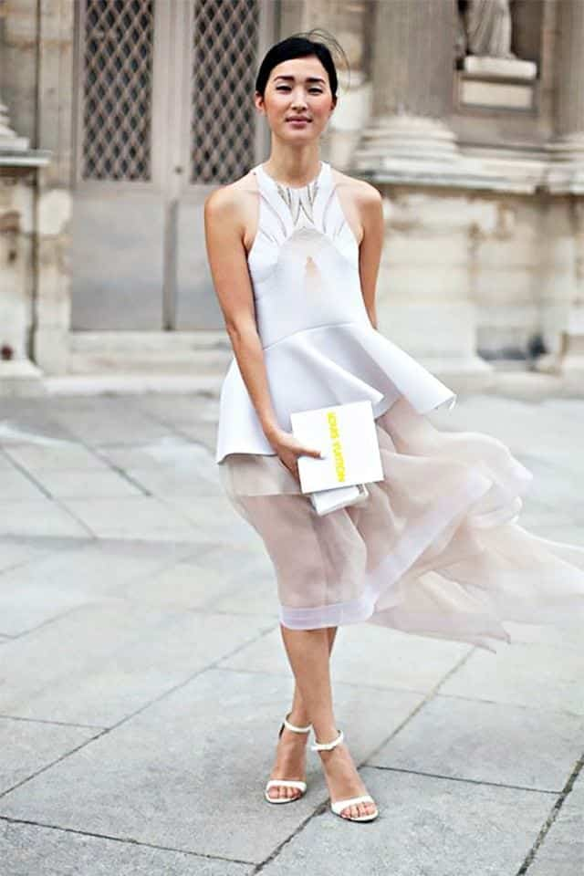 sheer-white-dress See-Through Outfits Girls-30 Ideas on How to Wear Sheer Outfits