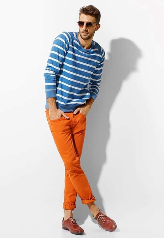 spring-outfit-1 Men's Orange Pants Outfits-35 Best Ways to Wear Orange Pants