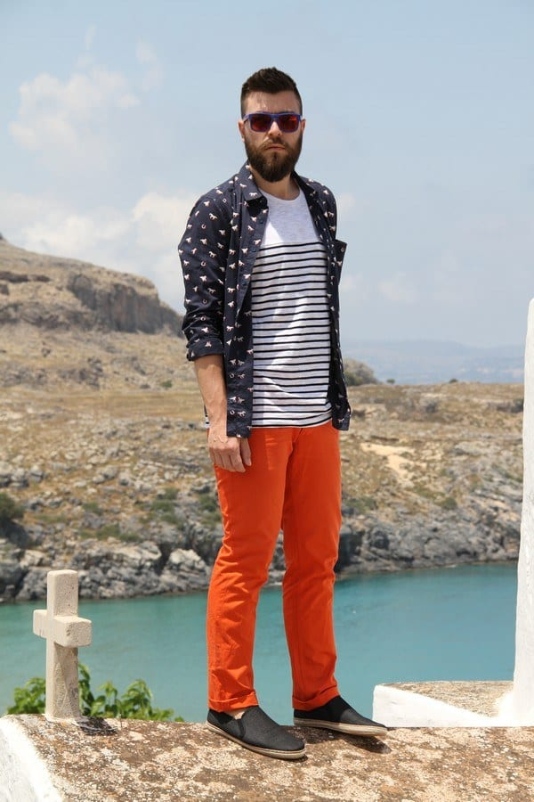 street-style-outfit-1 Men's Orange Pants Outfits-35 Best Ways to Wear Orange Pants