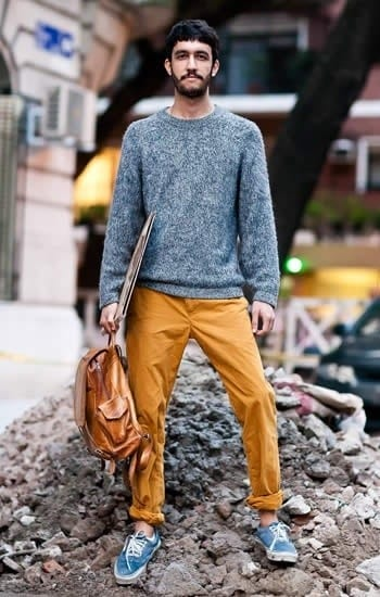 street-style-outfit-2 Men's Yellow Pants Outfits-35 Best Ways to Wear Yellow Pants