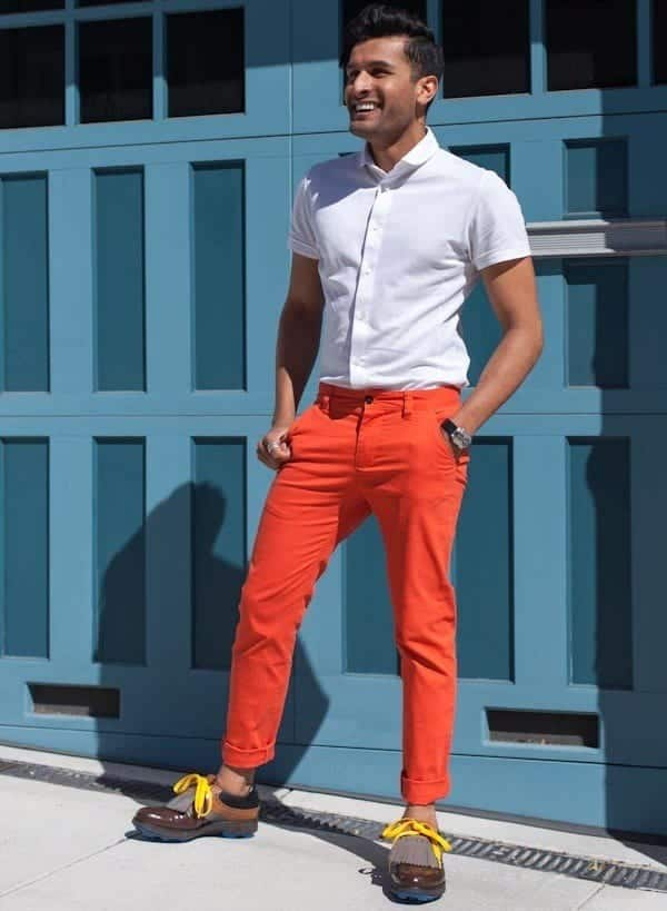 Menu0026#39;s Orange Pants Outfits-35 Best Ways to Wear Orange Pants