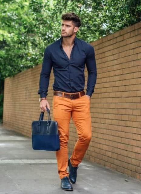 how to wear orange pants for men (9)