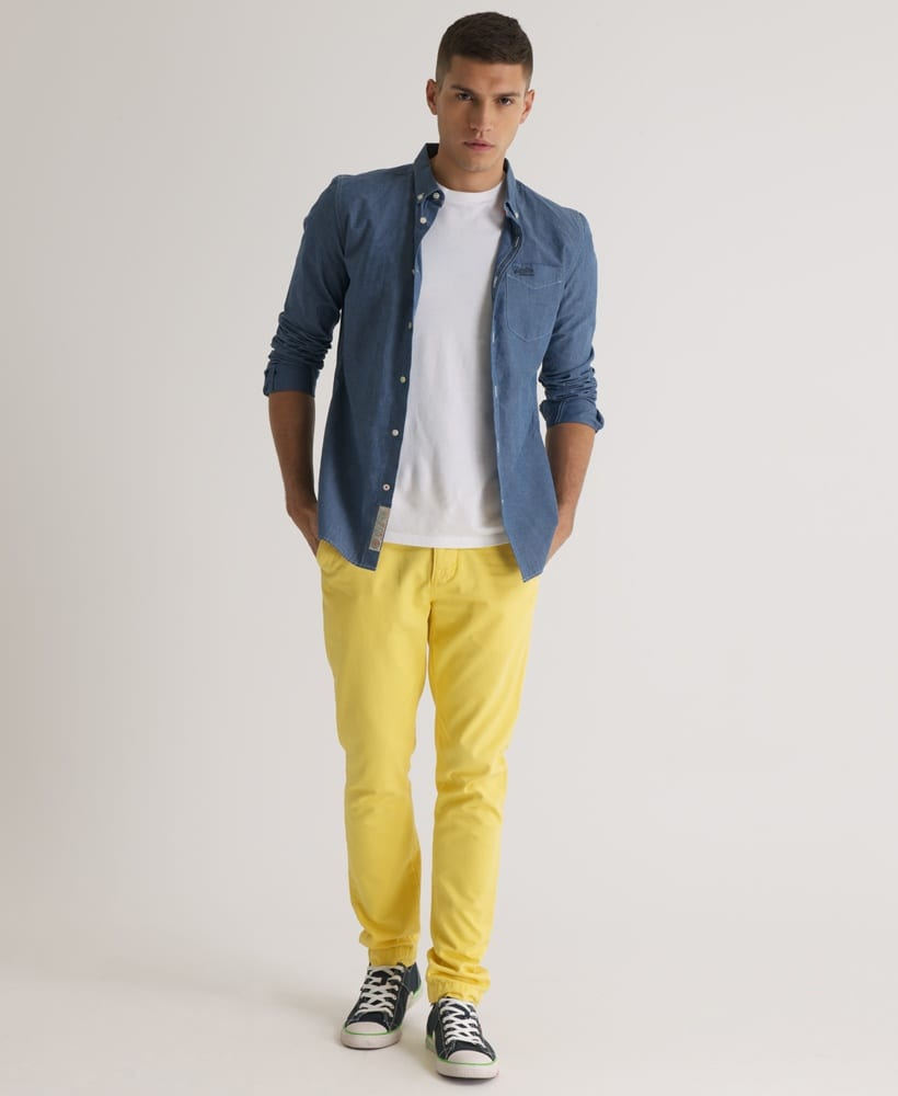 Dress those pants up with a crisp button down top and a sweater vest for a relaxed yet pulled together look. During the summer, keep it light and fresh by pairing the pants with a white polo shirt. Shopping for Men's Yellow Pants. You don't have to look far to find a surprisingly decent selection of .