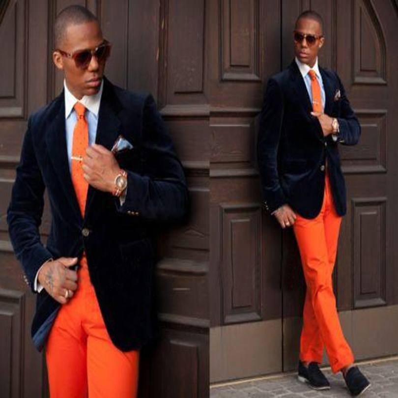 wedding-outfit-1 Men's Orange Pants Outfits-35 Best Ways to Wear Orange Pants