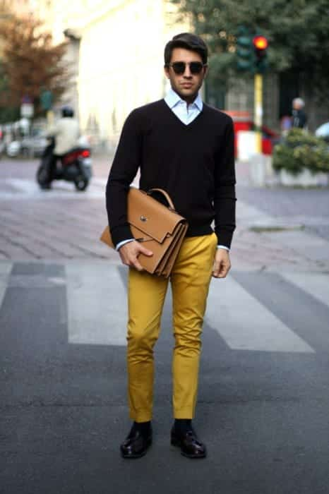 yellow-chino-pants Men's Yellow Pants Outfits-35 Best Ways to Wear Yellow Pants