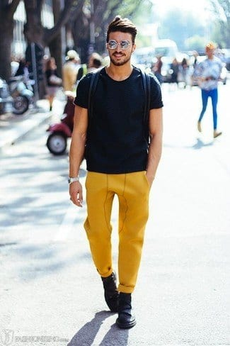 yellow-track-pants Men's Yellow Pants Outfits-35 Best Ways to Wear Yellow Pants