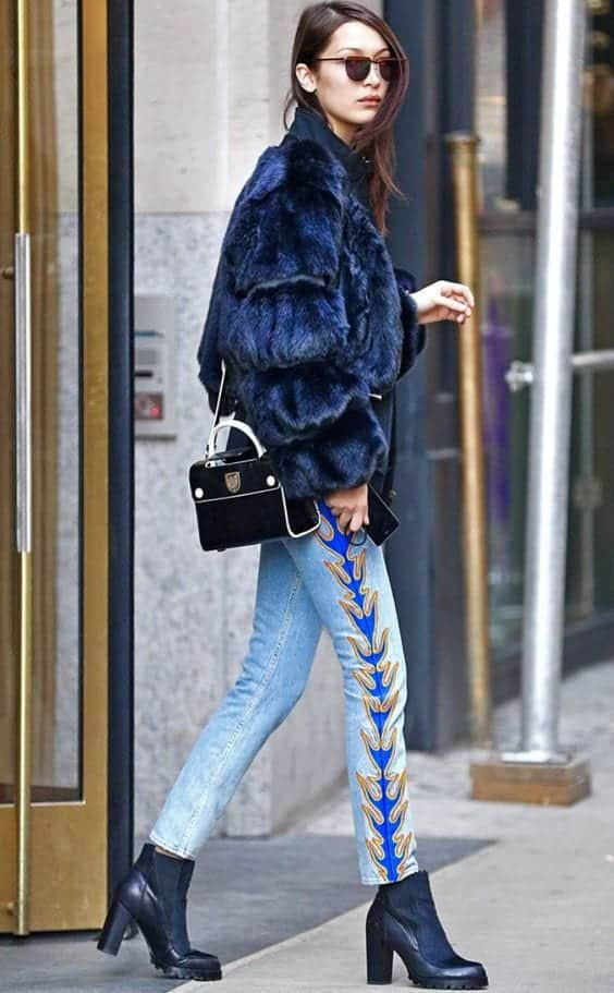 Bella-Hadid-Embroidered-Jeans-Style Embroidered Jeans- 27 Ways to Wear Embroidered Jeans to Work