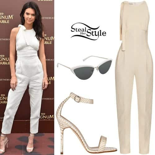 Charming-Kendall-Style-Jumpsuit-for-Work Celebrity Work Outfits for Women-30 Celeb Style Work Outfits