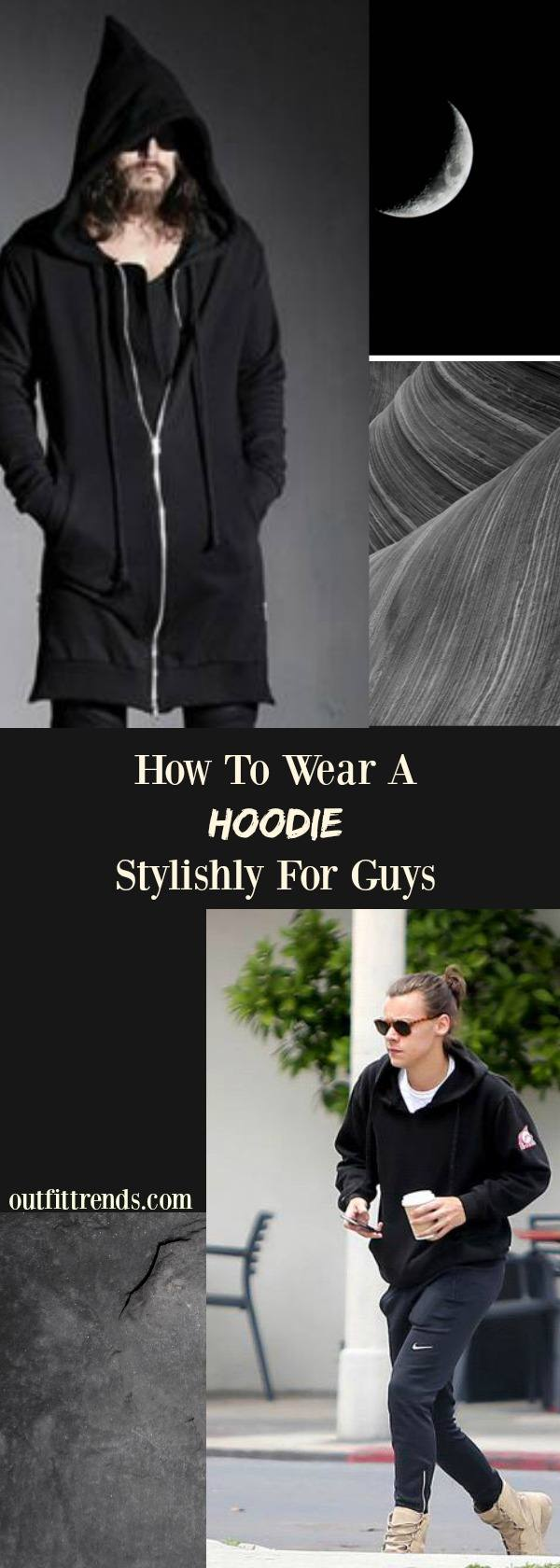 Dark-And-Off-Centered Men Hoodie Outfits-30 Ways for Guys to Wear a Hoodie Stylishly