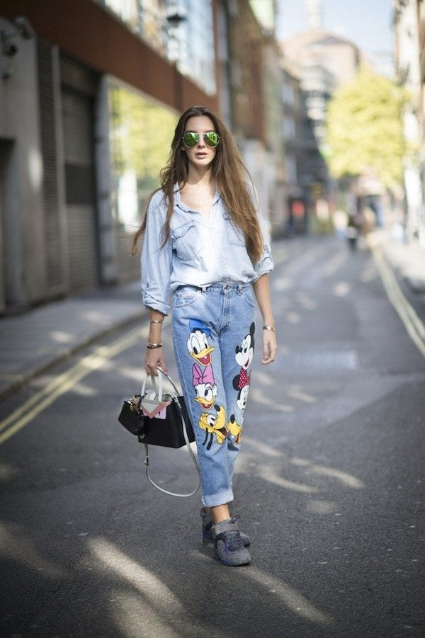 Disney-Style-Embroidered-Denim-Pants Embroidered Jeans- 27 Ways to Wear Embroidered Jeans to Work