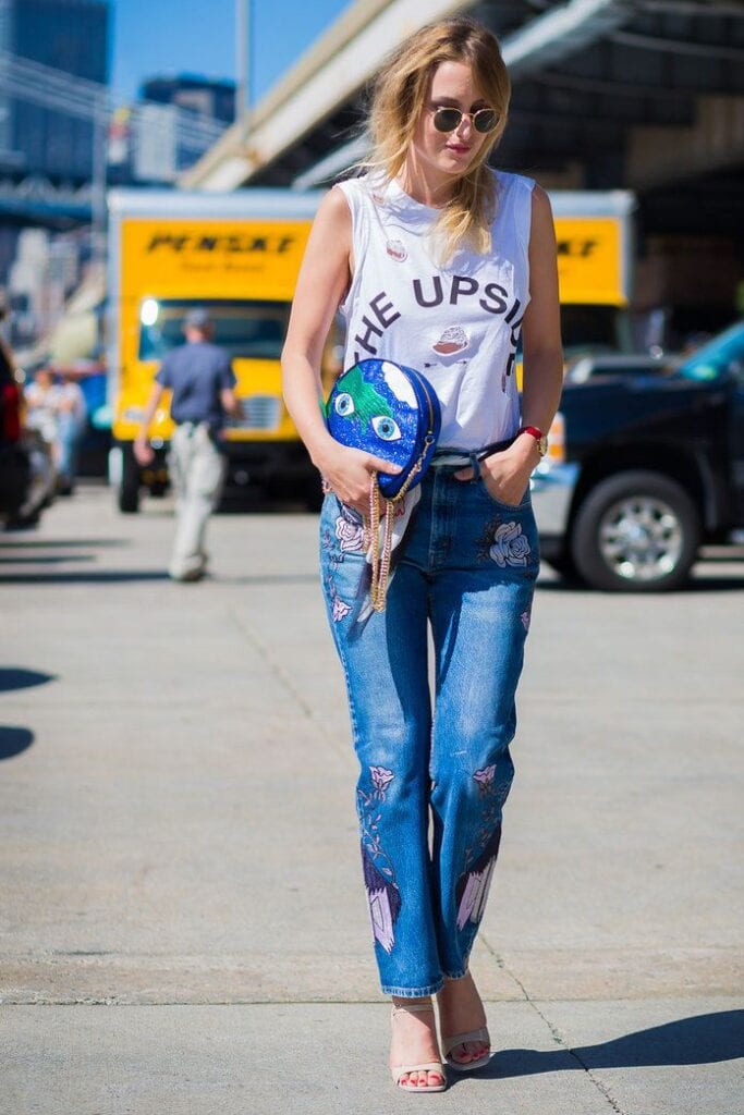 Embroidered-Denim-Style-Festival-Attire-683x1024 Embroidered Jeans- 27 Ways to Wear Embroidered Jeans to Work