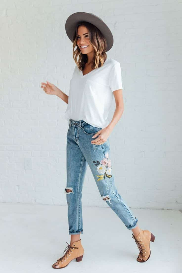 Embroidered Jeans- 27 Ways to Wear Embroidered Jeans to Work