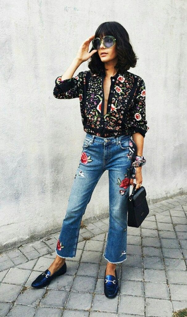 Fashionable-Street-Style-606x1024 Embroidered Jeans- 27 Ways to Wear Embroidered Jeans to Work