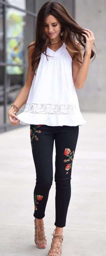 Formal-Look-with-a-Little-Embroidery-424x1024 Embroidered Jeans- 27 Ways to Wear Embroidered Jeans to Work