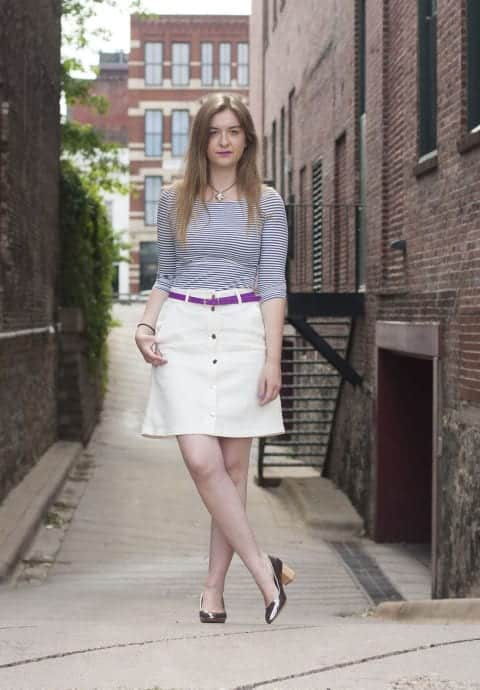How-To-Style-Button-Front-Skirts Skirt Outfits for College- 35 Ideas To Wear Skirts To School