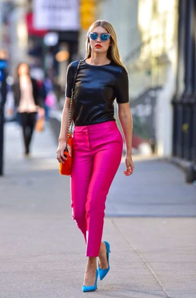 How-to-Carry-Pink-Pants-at-Work-676x1024 Celebrity Work Outfits for Women-30 Celeb Style Work Outfits