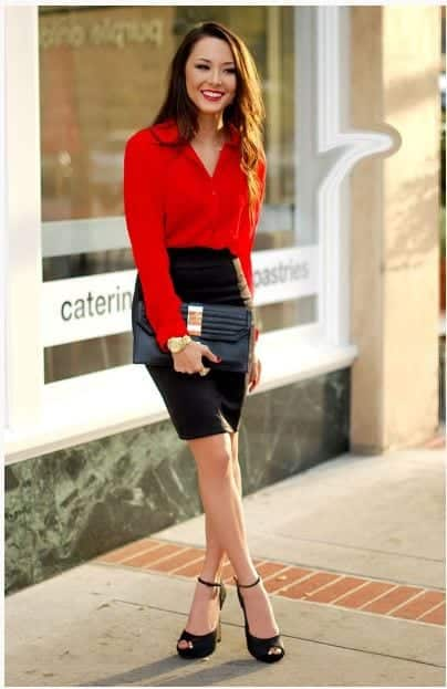 Red-Blouse-Outfits-With-Skirts Skirt Outfits for College- 35 Ideas To Wear Skirts To School