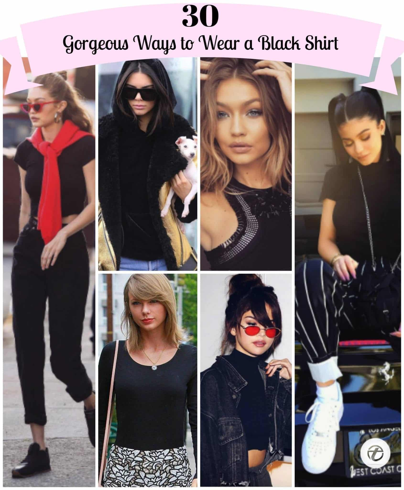 different-ways-to-wear-a-black-shirt-for-girls Girls Black Shirt Outfits-30 Different Ways to Wear Black Shirts