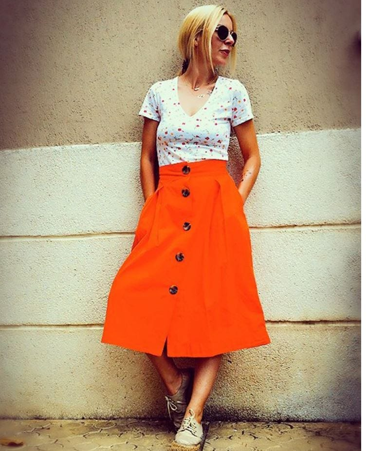 orange-a-line-skirt Orange Skirt Outfits - 27 Ideas on How to Wear Orange Skirts