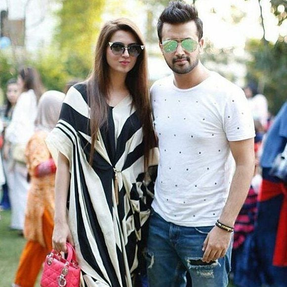 Atif-Aslam-And-Sara-Atif-2 Pakistani Couple Outfits-25 Best Outfits Of Pakistani Celebrities