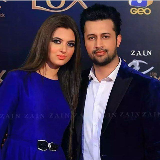 Atif-Aslam-And-Sara-Atif Pakistani Couple Outfits-25 Best Outfits Of Pakistani Celebrities