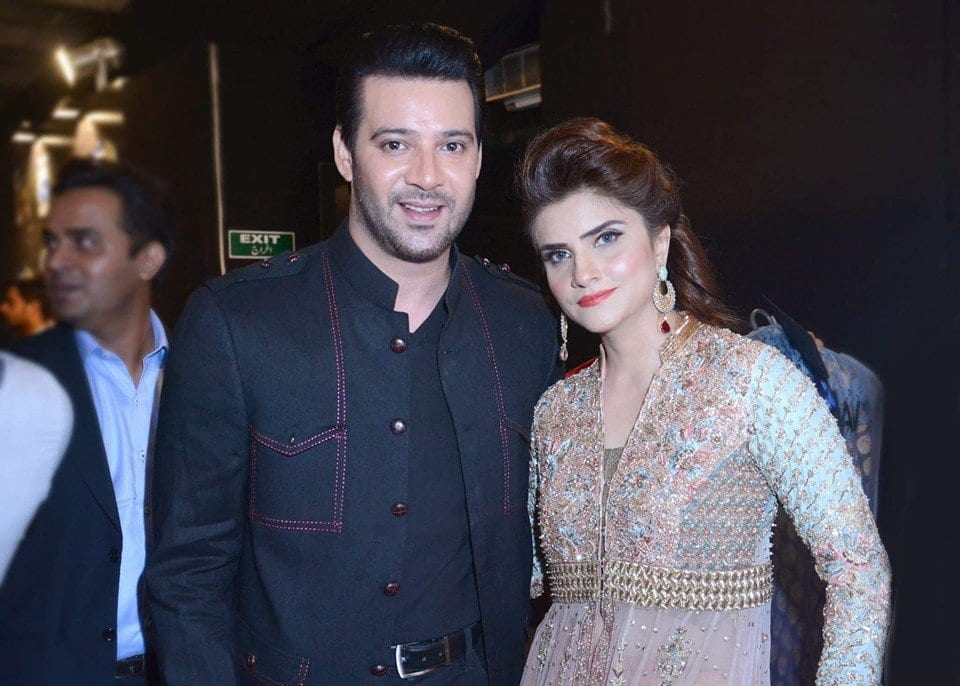 Moamer-Rana-Sikander-With-Wife Pakistani Couple Outfits-25 Best Outfits Of Pakistani Celebrities