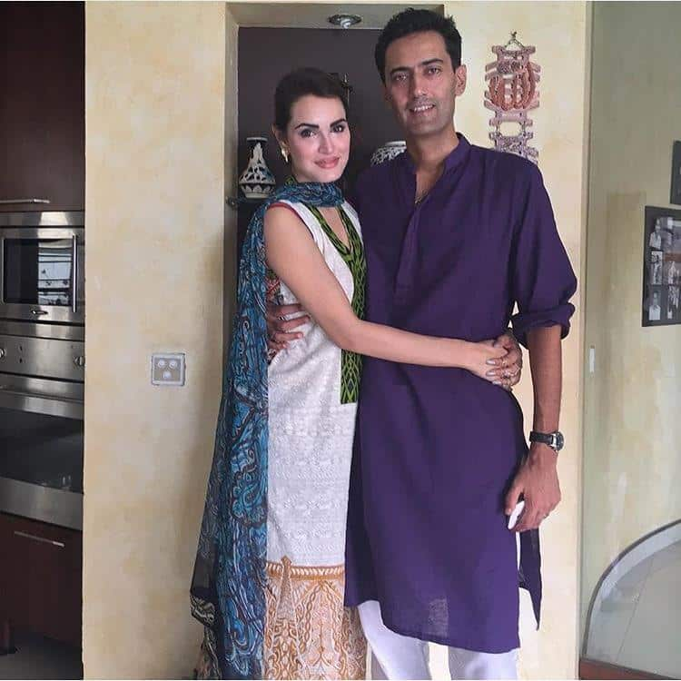 Nadia-Hussain-With-Husband Pakistani Couple Outfits-25 Best Outfits Of Pakistani Celebrities