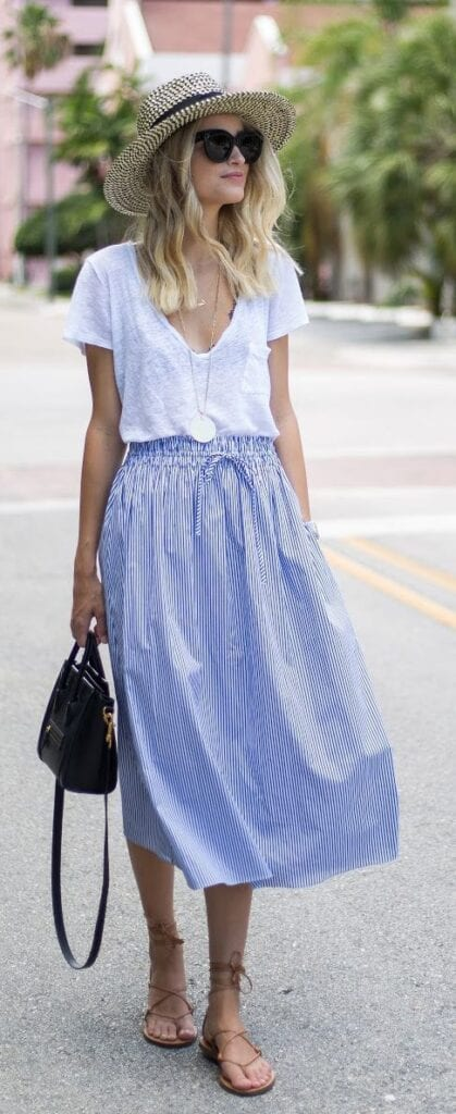Chic-Skirts-for-Summers--419x1024 Straw Hat Outfits - 20 Ways to Wear a Straw Hat This Summer