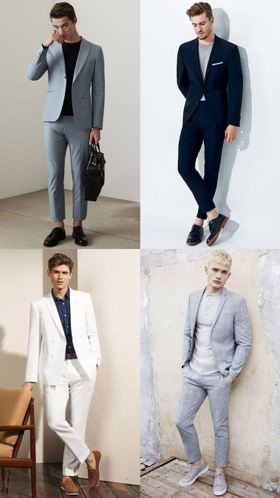 Semi-formal-Attire-with-Sockless-Shoes-576x1024 Mens Sockless Guide-27 Ways for Men to Wear Shoes without Socks