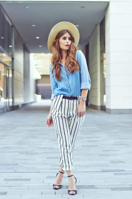 Striped-Pants-with-a-Classy-Hat Straw Hat Outfits - 20 Ways to Wear a Straw Hat This Summer