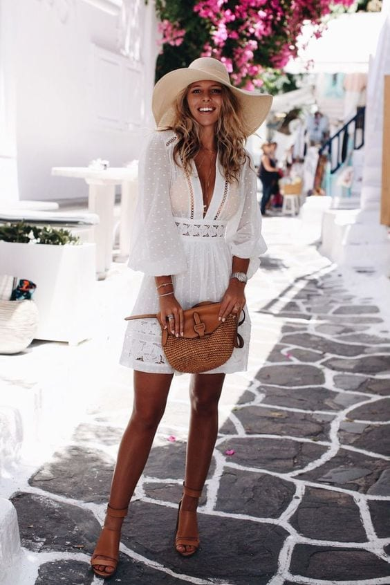 White-Attire-with-a-Hat-Made-in-Straw Straw Hat Outfits - 20 Ways to Wear a Straw Hat This Summer