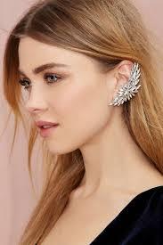 Diamond-Ear-Cuffs 19 Cute Ways to Wear Earrings with Long Hairs