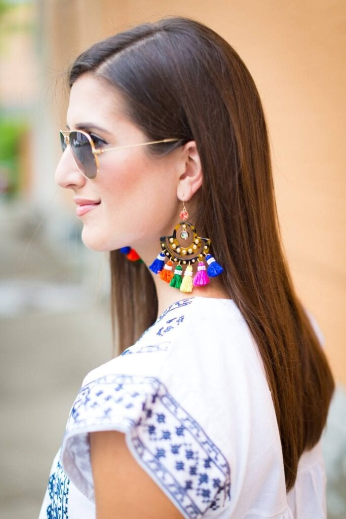 Funky-Earrings-for-Festivals-683x1024 19 Cute Ways to Wear Earrings with Long Hairs