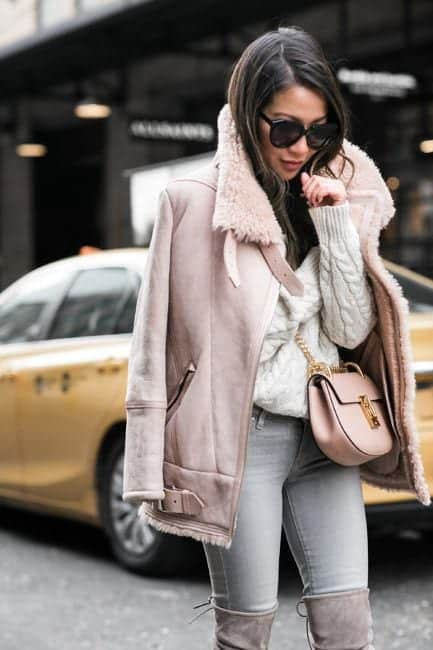 sh12 Shearling Jacket Outfits - 22 Ways to Wear Shearling Jacket