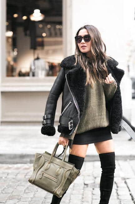 sh17 Shearling Jacket Outfits - 22 Ways to Wear Shearling Jacket