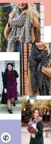How-to-Glam-it-up-with-a-Gingham-Print-Scarf-179x500 Outfits with Scarves - 26 Ways to Wear a Scarf this Winter