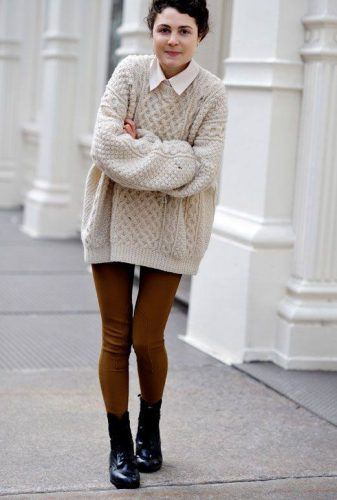 How-to-Layer-Oversized-Sweaters-337x500 Oversized Styles- 30 Ideas on How to Wear Oversized Clothes