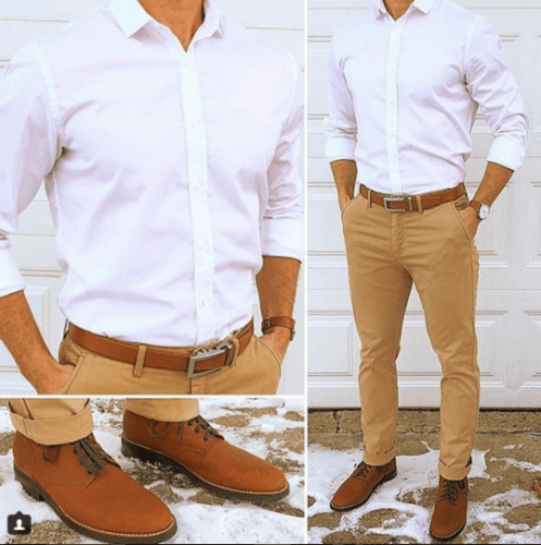 Khaki Pants Brown Dress Shoes