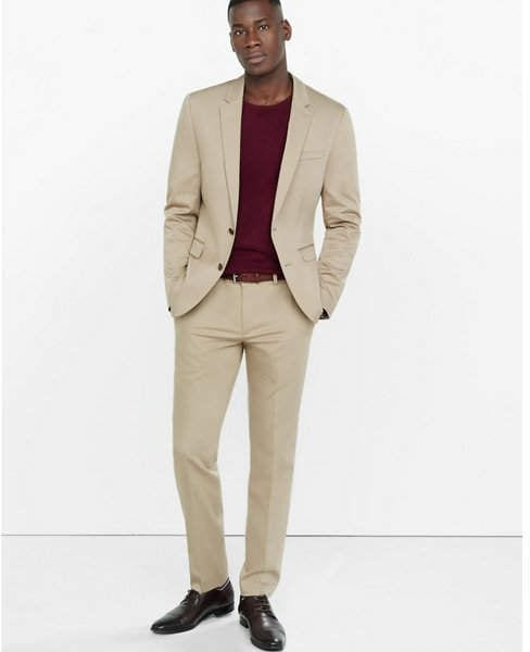 Blue Blazer Khaki Pants Brown Shoes