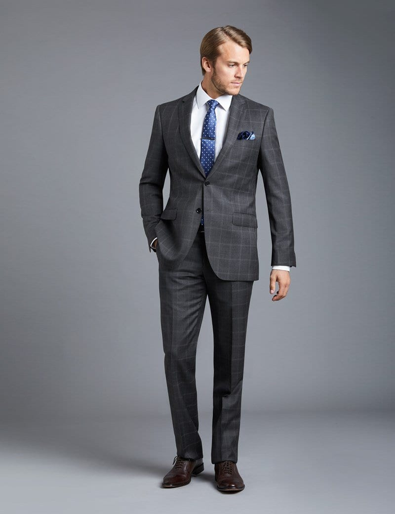 Charcoal Grey Suits with Black Shoes For Men (19)