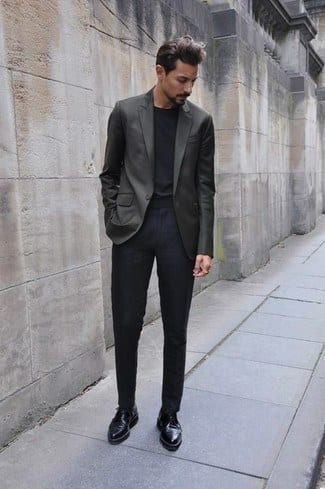 Cropped-Dark-Pants-and-Black-Shoes 30 Best Charcoal Grey Suits with Black Shoes For Men