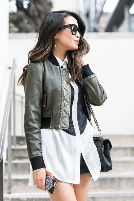 Leather-Bomber-Jacket4 21 Best Leather Bomber Jacket Outfits for Women