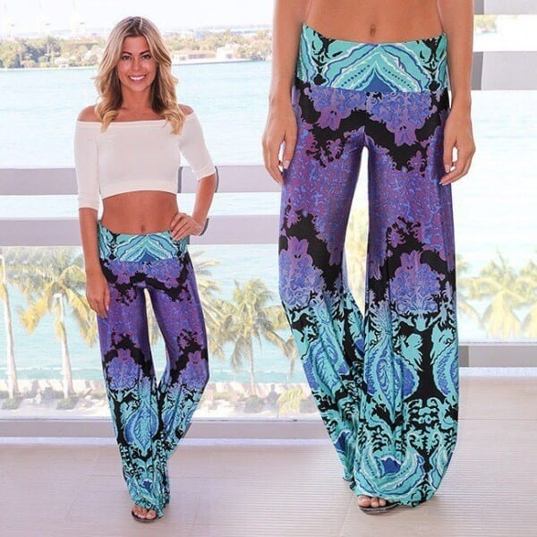 Printed-Pants-with-Crop-Tops-600x600 Printed Pant Outfit-18 Ideas What to Wear With Printed Pants