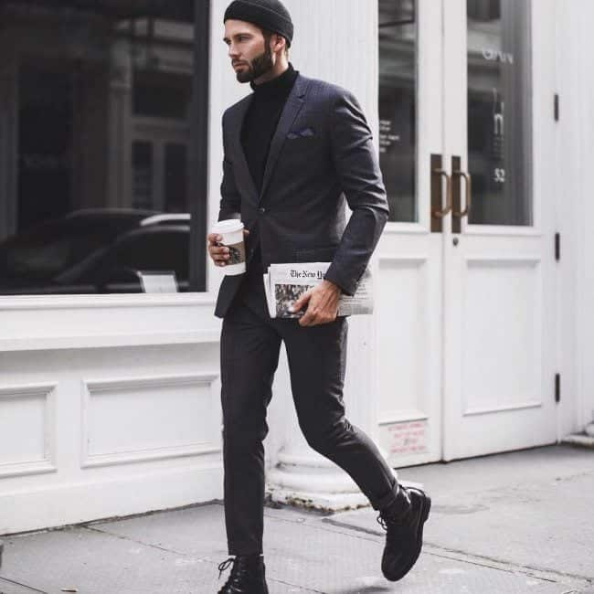Charcoal Grey Suits with Black Shoes For Men (2)