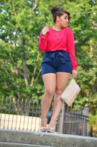 18-1 20 Ideas on How to Wear High Waisted Shorts for Plus Size Women