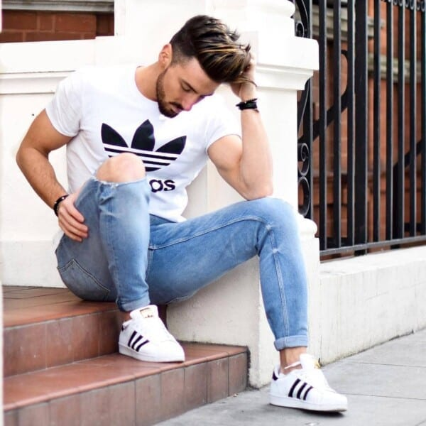 Adidas-superstars-600x600 25 Outfits to Wear with White Sneakers for Men