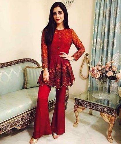 Peplum-kurti-with-pajama-418x500 25 Best Women Kurta Pajama for Wedding Styles 2018