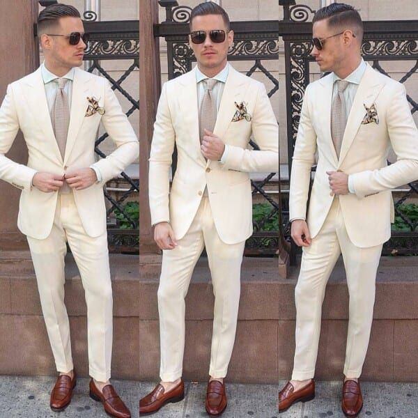 White-Suit-600x600 Men's Business Casual Shoes Guide and 20 Tips for Perfect Look