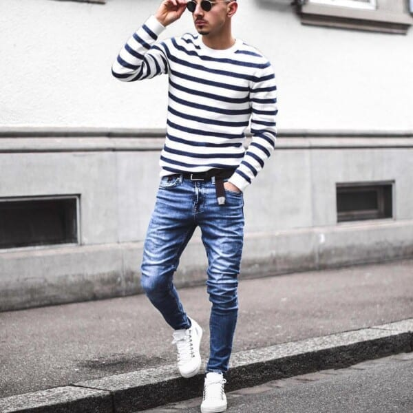 striped-shirt-and-denim-600x600 25 Outfits to Wear with White Sneakers for Men