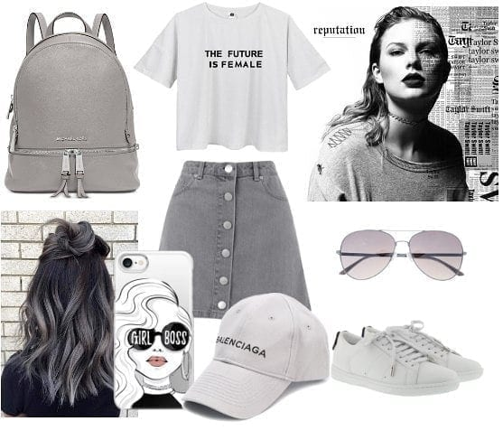 50-shades-of-grey 25 Outfits to Wear With White Sneakers for Women